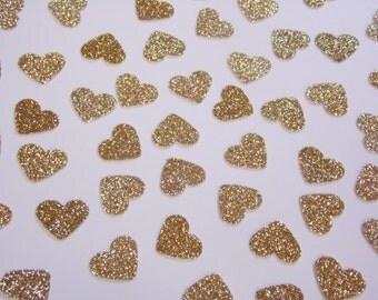 Gold Glitter Heart Confetti, Wedding Reception Decoration, Table Scatter, Paper Confetti, Bridal Shower Decor