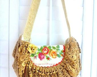 boho chic handbag, bohemiam bag, gypsy slouch bag, shabby cottage chic bag, hippie bag, tapestry bag, western chic handbag, shoulder bag