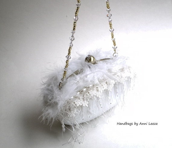 white bridal clutch, evening bag, bridal purse, shabby wedding, couture, bridal bag, ostrich feathers, swan lake, flapper purse, prom