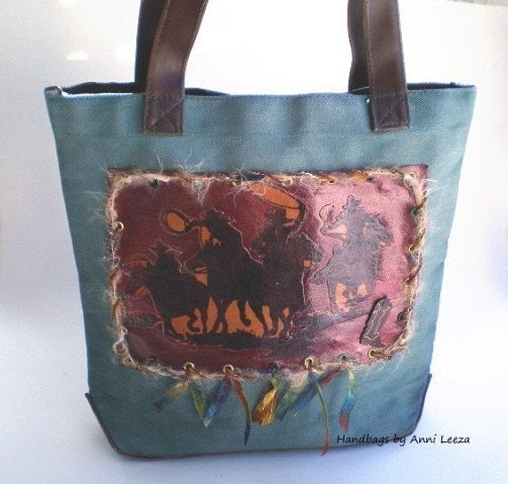 boho chic handbag, rustic western handbag, canvas handbag, western wear, tote bag,  western wedding,  book tote, cowgirl bag, cowboys