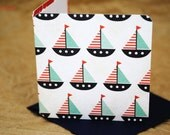 Blank Mini Card Set of 10, Mini Sailboat Design With Contrasting Anchors on the Inside, Navy Envelopes, mad4plaid