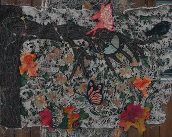 Mixed Media Fairy Autumn Scene Wallhanging