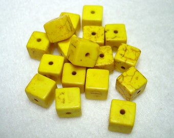 Yellow Synthetic Turquoise Dyed Cube Beads (Qty 17) - B2712