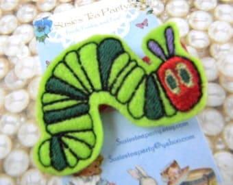 Felt Caterpillar Hair Clip-Baby Hair Clip-Green Caterpillar Hair Clip-Toddler HairClip-Felt Hair Clip-Feltie Hair Clip