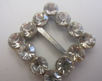 Vintage, 1 small stunning rhinestone embellished square belt buckle, metal, Bridal (apr 14)