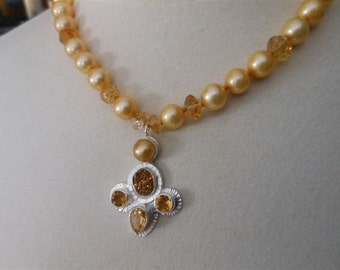 Golden Pearl Necklace, Focal Soft Golds, Citrines, Gold Druzy, Hand knotted on gold silk