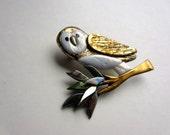 White Barn Owl pin brooch