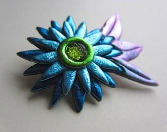 Blue Flower with Rhinestone Center Pin Brooch