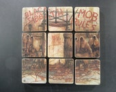 BLACK SABBATH upcycled Mob Rules record album cover coasters with wacky vinyl bowl