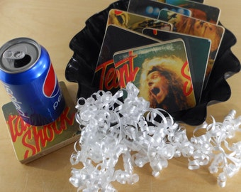 TED NUGENT recycled State of Shock album cover coasters with warped record bowl