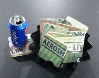 AREOSMITH recycled Live! Bootleg album cover coasters with wacky record bowl