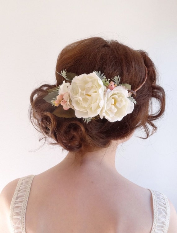 hair styles for hair wedding white peony hair accessories bridal flower crown floral 6118