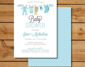 Clothesline Baby Shower Invites - Baby Boy with Teddy Bear