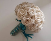 Made to order bridal bouquet in Ivory/Jade Handcrafted in beautiful satin roses