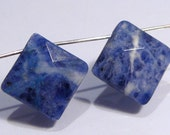 Blue Sodalte Faceted Diamond Shape Briolette Gemstone Beads....13x13mm....2 Beads
