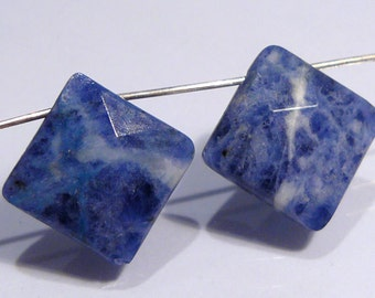 Blue Sodalte Faceted Diamond Shape Briolette Gemstone Beads....13x13mm....2 Beads