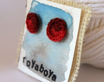 Crochet earrings red variegated round stud nickel free post bridesmaid mothers day gift