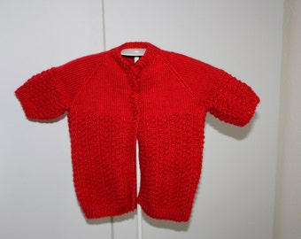 Girls Red Hand Knit Short Sleeve Sweater Size 2
