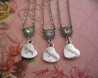 3 Generation Mom Daughter Grandma Heart Necklaces Jewelry Gift