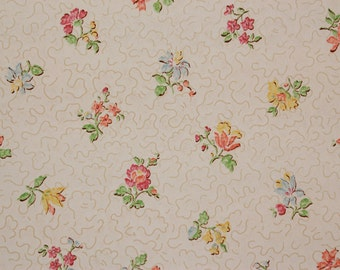 1920's Vintage Wallpaper Petite Flowers on White--Made in Belgium