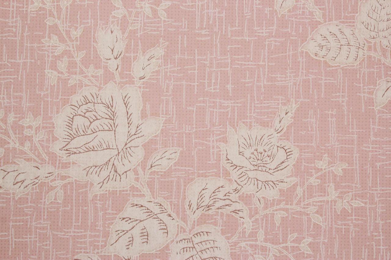 1960er jahre vintage tapete wei e rosen auf rosa durch den hof for Weisse tapete