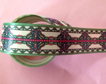 printed Green pink white  ribbon trim edging sewing supplies 1 inch wide x 2 yards