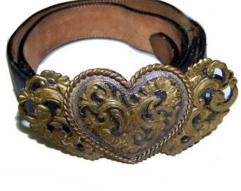 Black leather belt metal Heart Buckle vintage made in USA size 38 large