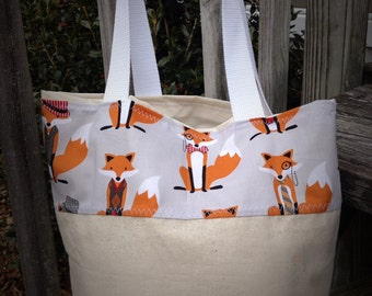 Fox tote, bridesmaids totes, bridesmaids bags, summer tote, teacher tote, diaper bag, small tote, medium tote, purse, bag, tote, boutique