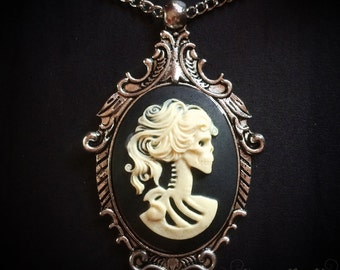 Ivory Skeleton Lady Cameo Necklace // Day of the Dead Necklace // Victorian Jewelry // Gothic Cameo