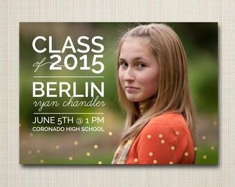 Photo Graduation Announcement - Graduation Invitation - Printable digital file custom