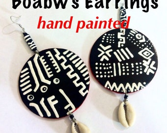 Mudcloth Red Trim Earrings