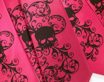 Red and black skull tie. Distressed skull design by RokGear, custom colors print to order