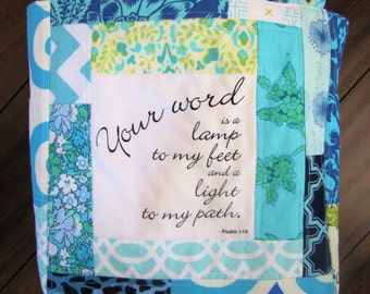 Blue Psalm Patchwork Scripture Tote Bag Bible Bag ready to ship