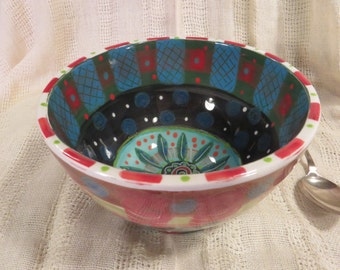 Bright Bold Pattern And Colour On Rice Bowl