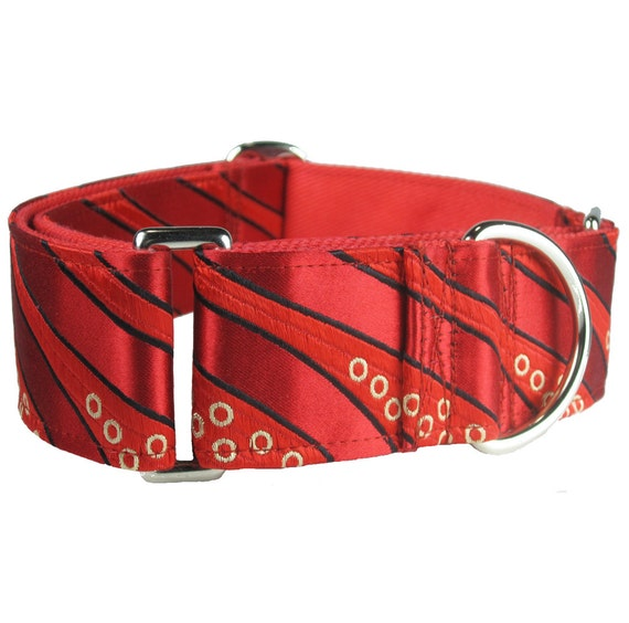 Martingale Dog Collar - Fancy Dog Collar - Greyhound Dog Collar - Red Dog Collar - 2 Inch Dog Collar - Dog Lover Gift - Martingale Collar