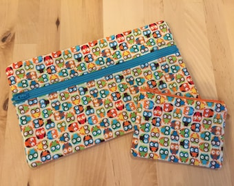 Owls Pencil Case and Change Purse Matching Set - Zippered Pouches