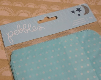 Pebbles Printed Party Bags - Blue Polka Dot - 24 Bags - One Package