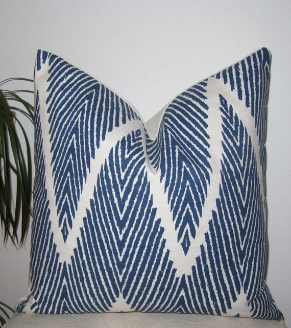 Navy/White Chevron Pillow Cover - Navy Lumbar Pillow Cover - Lacefield Bali Designer Cover