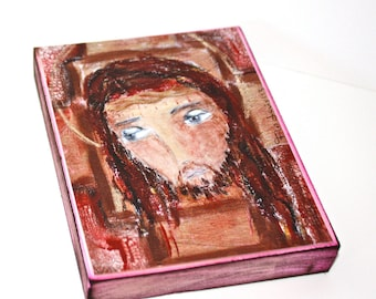Jesus -  Giclee print mounted on Wood (4 x 5 inches) Folk Art  by FLOR LARIOS