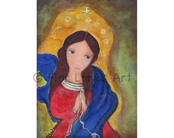Mary Untier of Knots -  Folk Art (6 x 8 inches PRINT)  by FLOR LARIOS