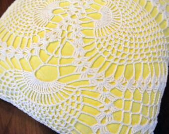 SALE -- gorgeous handmade pillow - lemon yellow with vintage doily