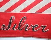 Vintage Deco Era Kitchen Tea Towel Red Stripe MWOT Silver