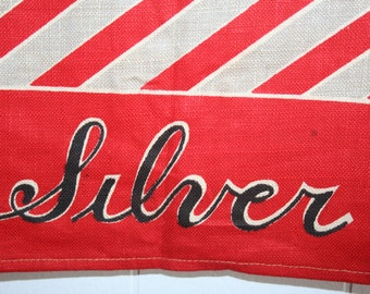 Vintage Deco Era Kitchen Tea Towel Red Stripe MWOT Silver