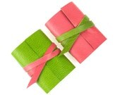 Mini Journal: Pink and Lime small leather notebook a sweet Mother's Day gift Wedding or Baby Shower Favor. Pretty, colourful Gifts for Girls