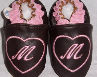 leather monogrammed infant shoes, baby shoes with heart and initial ,