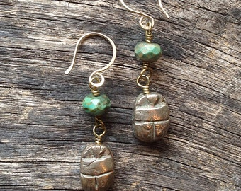 Bronze and Turquoise Scarab Earrings