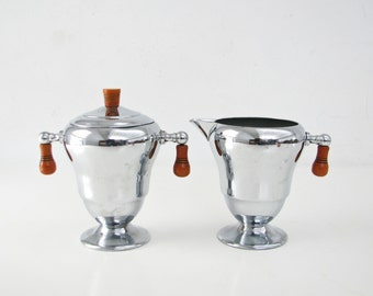 Art Deco Sugar and Creamer, Chrome and Bakelite Handles