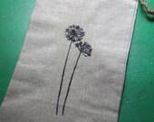 Dandelion Wine Gift Bag - Drawstring Fine Linen Wine Gift Bag - Dandelion Image Handstamped