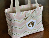 LDS Pink and Gold Chevron CTR tote