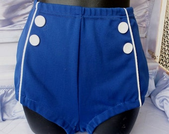 Highwaisted Sailor Bottoms, 1950s/60s Navy Blue Nautical Pin Up Swim Suit Bottoms / High Waisted Swimsuit Bottoms / Vintage Swimwear
